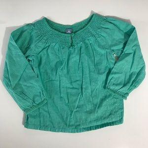 Baby Gap green blouse. Size 3T